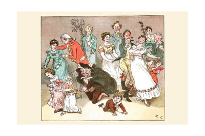 Great Professor Fell to His Knees to Play with the Children at the Wedding Party Poster by Randolph Caldecott