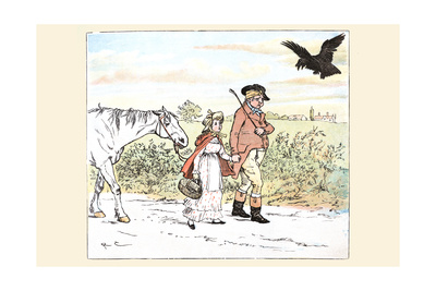 Raven Laughs as the Farmer and His Daughter Able Away Bandaged Art by Randolph Caldecott