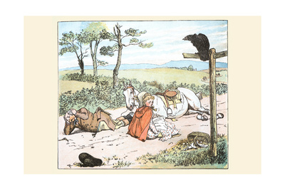 Raven Spooked the Farmers Horse and He Tumbled to the Ground with His Daughter Posters by Randolph Caldecott