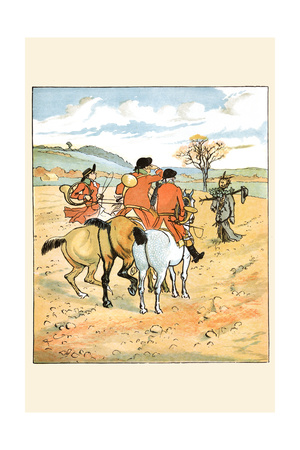 Huntsmen Came across a Boggart or Goblin in the Field Poster by Randolph Caldecott