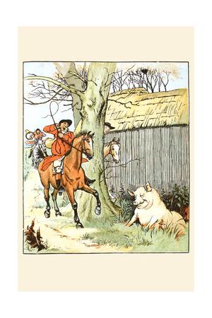 Huntsmen Cam across a Large Pig Prints by Randolph Caldecott