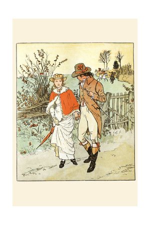 Young Couple Promenade on a Country Way Posters by Randolph Caldecott