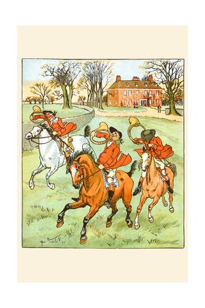 Three Jovial Horsemen Tooting their Hunting Horns Prints by Randolph Caldecott