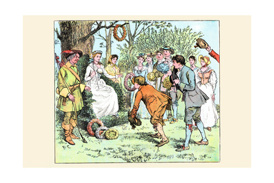 Tossing a Garland of Flowers to the Queen of the Dance Posters by Randolph Caldecott