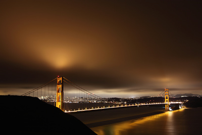 Golden Gate Bridge at Night, San Francisco in Back Photographic Print by Paul Taylor