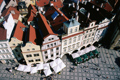 Overhead of Houses in Old Town Square from Town Hall Tower. Photographic Print by Paolo Cordelli