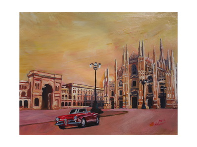 Milan Cathedral with Oldtimer Convertible Alfa Romeo Posters by Markus Bleichner