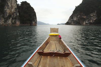 Boat Moving through Khao Sok National Park Photographic Print by Paul Taylor