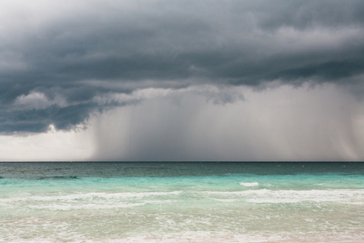 Rain Storm over the Ocean and Beach Photographic Print by Sasha Weleber