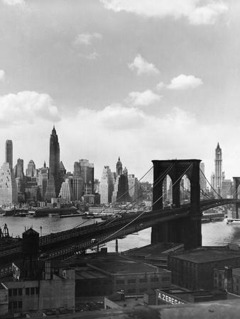 Brooklyn Bridge and Manhattan Skyline Photographic Print by Frederic Lewis