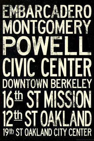 San Francisco Oakland BART Stations Vintage Subway Retro Metro Travel Prints