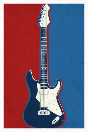 Electric Guitar Red White and Blue Music Poster