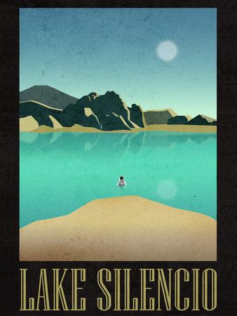 Lake Silencio Retro Travel Print