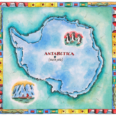 Map of Antarctica Photographic Print by Jennifer Thermes