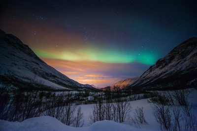 Northern Lights in Snow Valley Photographic Print by coolbiere photograph
