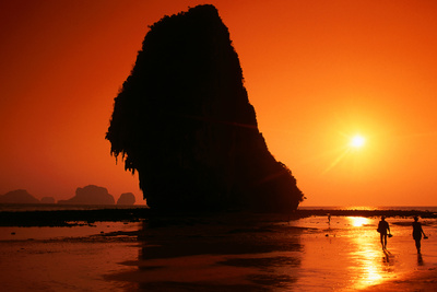 Islands Silhouetted at Sunset, Rai Leh Beach. Photographic Print by Paolo Cordelli