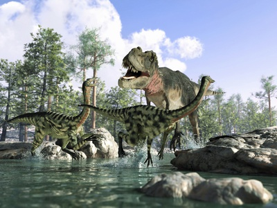 Tyrannosaurus Rex Hunting, Artwork Photographic Print by Science Photo Library - LEONELLO CALVETTI