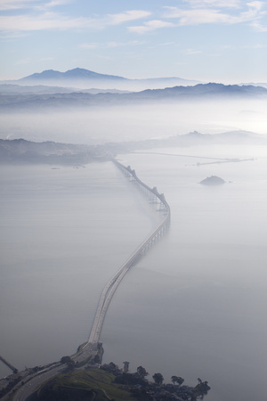 Aerial Landscape of Richmond-San Rafael Bridge, Looking East with Clearing Morning Fog and Mt. Diab Photographic Print by Diane Miller