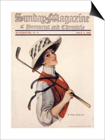 Sunday Magazine, Golf Womens Hats Portraits Magazine, USA, 1910 Prints