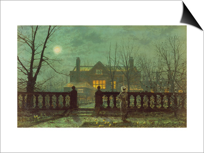 Garden in the Evening with View of an Illuminated House Art by John Atkinson Grimshaw