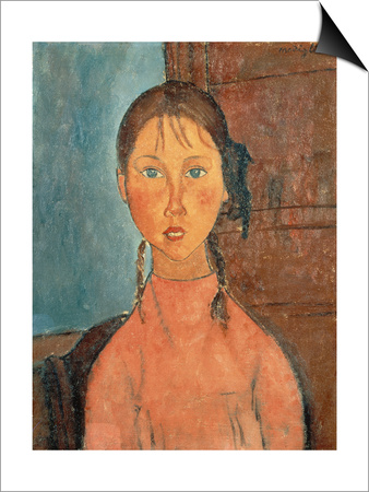Girl with Pigtails, 1918 Posters by Amedeo Modigliani