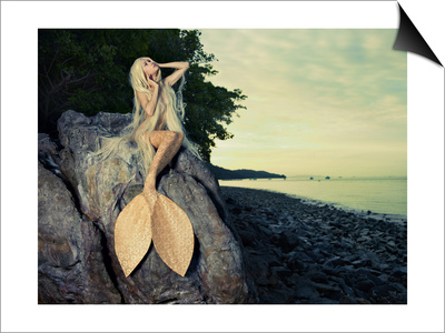 Beautiful Fashionable Mermaid Sitting On A Rock By The Sea Art by George Mayer