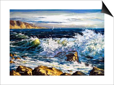 Storm Waves On Seacoast Art by  balaikin2009