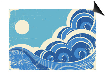 Abstract Sea Waves Grunge Illustration Of Sea Landscape Poster by  GeraKTV!