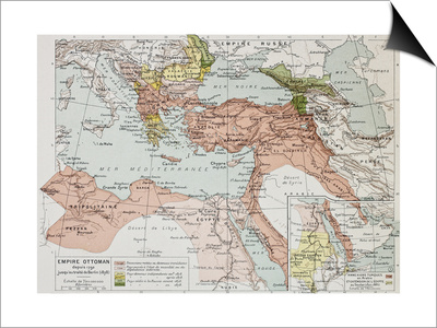 Ottoman Empire Historical Development Old Map (Between 1792 And 1878) Posters by  marzolino