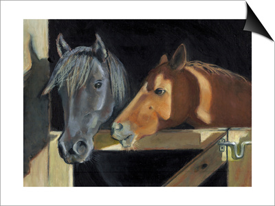 Two Horses At The Stall Gate Prints by  joylos