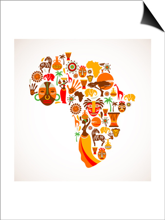 Map Of Africa With Icons Poster by  Marish