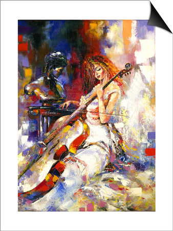 The Girl Plays A Violoncello Prints by  balaikin2009