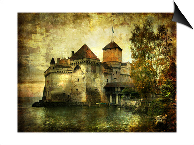 Mysterious Castle On The Lake - Artwork In Painting Style Prints by  Maugli-l