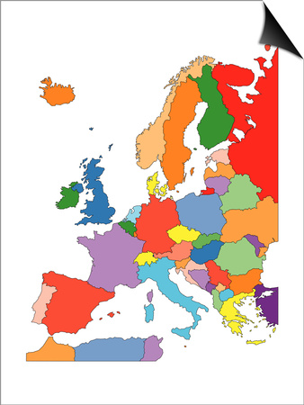 Europe With Editable Countries Posters by Bruce Jones