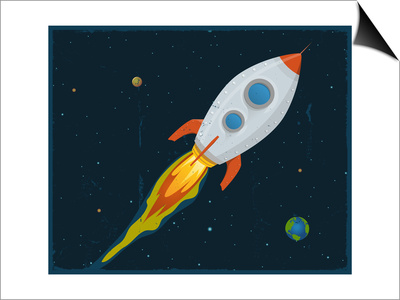 Rocket Ship Blasting Through Space Prints by  Benchart
