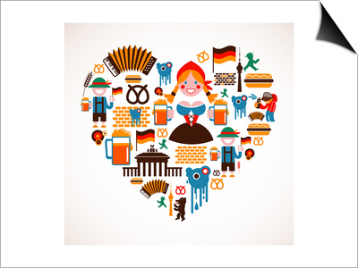 Heart Shape With Germany Icons Prints by  Marish