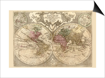 World Map Prepared For Then French King Posters By Guillaume De - World map posters for sale