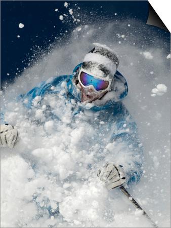Skier in deep powder snow Art by Lee Cohen
