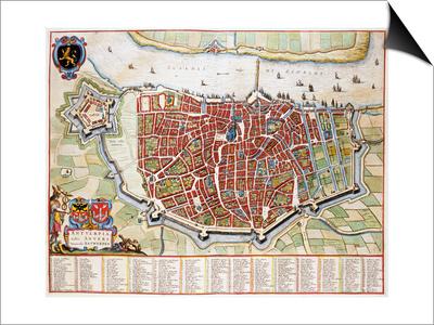 Antverpia, Map of Antwerp Poster by Jan Blaeu