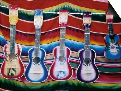 Colorful Guitars Drying Prints by Richard Cummins
