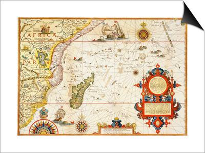 Map of Eastern Africa by Arnold Florent van Langren after Jan Huygen van Linschoten Art by  Stapleton Collection