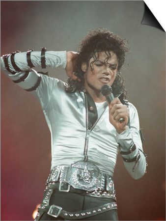 Michael Jackson Performing on Stage at Wembley During the Bad Concert Tour, July 14, 1997 Reprodukce Magnetic Art