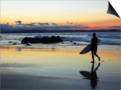 Surfer at Dusk, Gold Coast, Queensland, Australia Art by David Wall