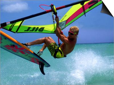Windsurfing Jumping, Aruba, Caribbean Posters by James Kay