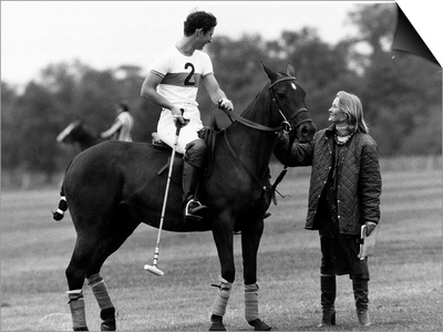 Prince Charles Sits on Horse in Polo Game July 1979 Prints