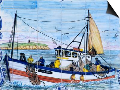 Painted Ceramic Tiles of a Fishing Boat, Algarve, Portugal Posters by John & Lisa Merrill
