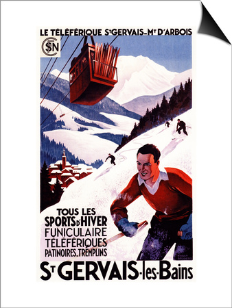 St. Gervais-Les-Bains, France - SNCF Railway Cable Car Promo Poster Prints by  Lantern Press