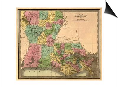 Louisiana - Panoramic Map Print by  Lantern Press