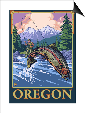 Fly Fishing Scene, Oregon Prints by  Lantern Press
