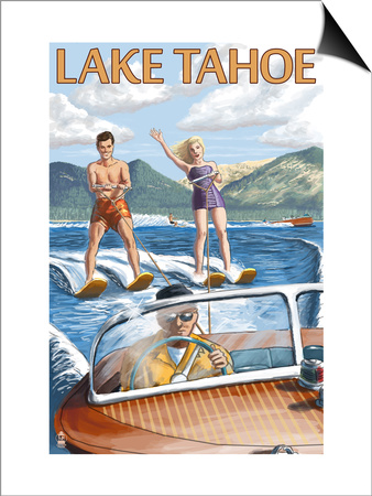 Lake Tahoe, California - Water Skiing Scene Prints by  Lantern Press